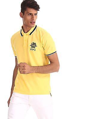 U.S. Polo Assn. Yellow Cotton Pique Polo Shirt