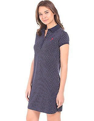 U.S. Polo Assn. Women Star Print Pique Polo Dress