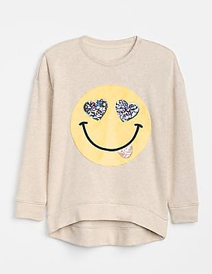 GAP Girls Sequin Graphic Pullover Sweater