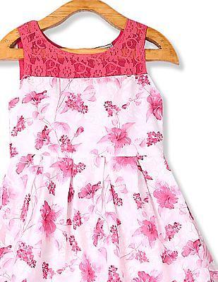 Cherokee Girls Sleeveless Floral Print Dress