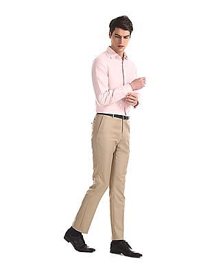 Arrow Newyork Beige Tapered Fit Patterned Trousers