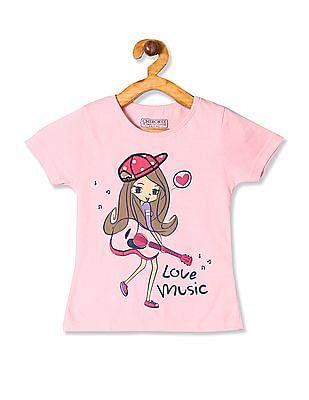 Cherokee Pink Girls Round Neck Graphic T-Shirt