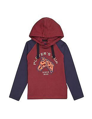 U.S. Polo Assn. Kids Boys Hooded Raglan Sleeve T-Shirt