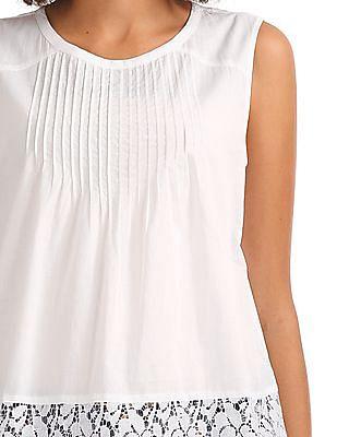 GAP Women White Lace Insert Top