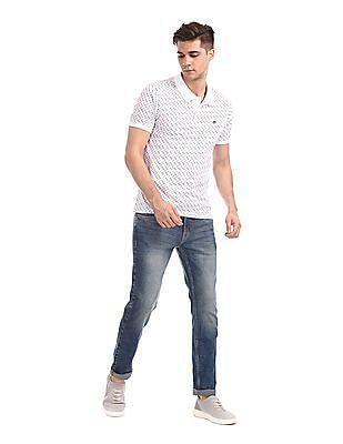 Ruggers White Short Sleeve Printed Polo Shirt