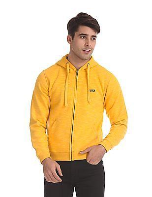 Flying Machine Yellow Hooded Zip Up Sweatshirt