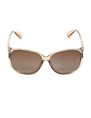 SUGR Glitter Accent Oval Frame Sunglasses