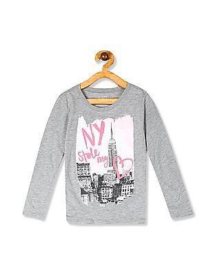 The Children's Place Girls Grey Long Sleeve Graphic T-Shirt