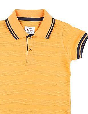 Donuts Boys Textured Knit Polo Shirt