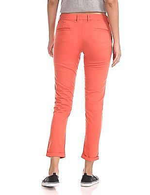 Flying Machine Women Flat Front Solid Trousers