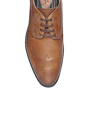 Arrow Perforated Leather Derby Shoes