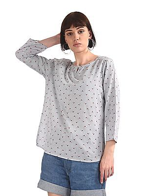 Cherokee Blue Notched Round Neck Printed Top