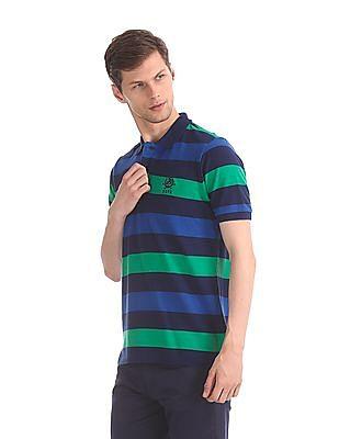 U.S. Polo Assn. Blue Striped Pique Polo Shirt