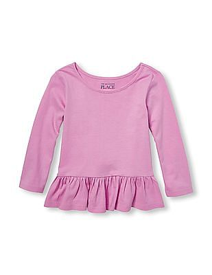 The Children's Place Toddler Girl Long Sleeve Solid Ruffle Peplum Top