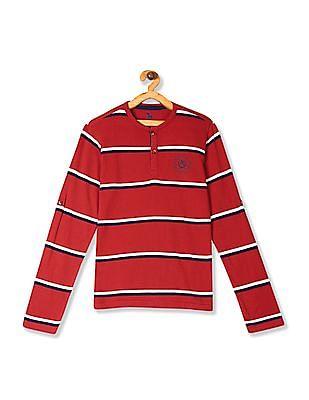 U.S. Polo Assn. Kids Red Boys Striped Long Sleeve Henley T-Shirt