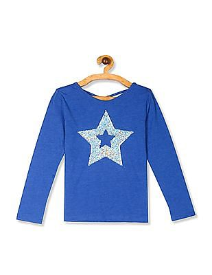 The Children's Place Blue Girls Long Sleeve Flip Sequin Graphic Cross Back Top