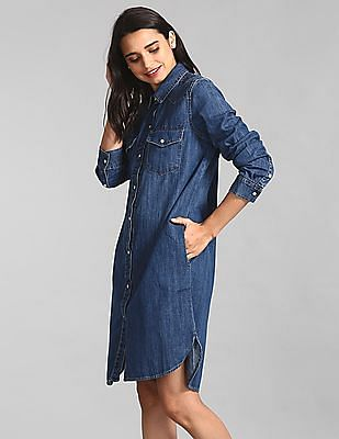 GAP Blue Denim Western Shirtdress