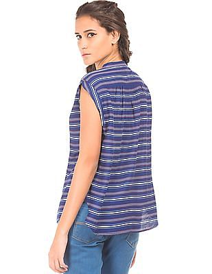 SUGR Stand Neck Striped Top