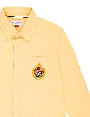 U.S. Polo Assn. Kids Boys Button Down Collar Solid Shirt