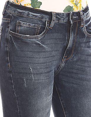 Aeropostale Blue Frayed Hem Cropped Jeans