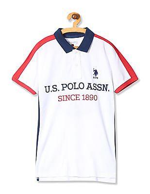 U.S. Polo Assn. Kids Boys Short Sleeve Colour Block Polo Shirt