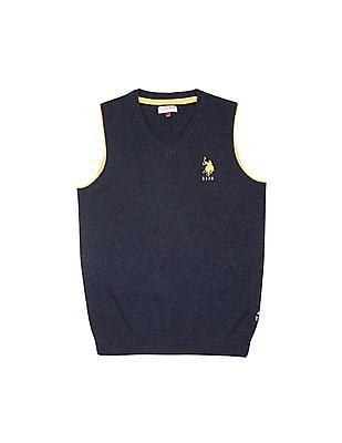 U.S. Polo Assn. Kids Boys V-Neck Lambswool Sweater