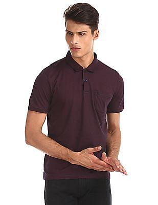 Arrow Sports Red Striped Cotton Polo Shirt