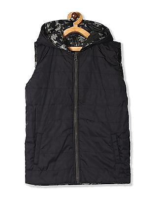 Cherokee Olive And Black Boys Reversible Gilet Jacket