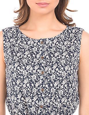 U.S. Polo Assn. Women Floral Print Cotton Linen Dress