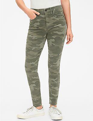 GAP Green True Skinny Fit Camo Print Jeans