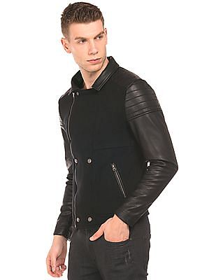 Flying Machine Faux Leather Panelled Biker Jacket
