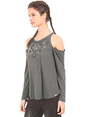 EdHardy Women Cold Shoulder Embellished Top