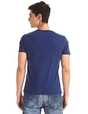 Flying Machine Blue Crew Neck Graphic T-Shirt
