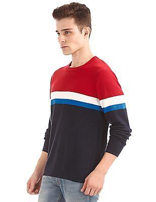 Aeropostale Colour Block Round Neck Sweater