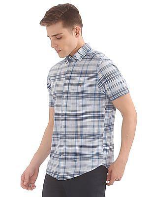 Gant Blue Pack Madras Regular Short Sleeve Button Down Shirt