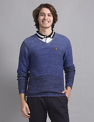 True Blue Blue Slim Fit Patterned Knit Sweater