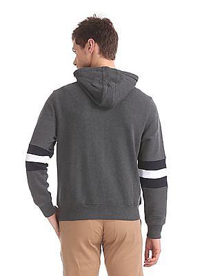U.S. Polo Assn. Grey Panelled Sleeve Hooded Sweatshirt
