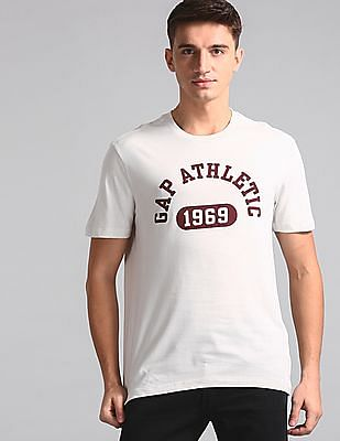 GAP Men White Brand Print Crew Neck T-Shirt