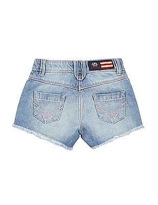 U.S. Polo Assn. Kids Girls Raw Hem Washed Denim Shorts