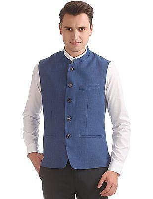 Arrow Textured Slim Fit Nehru Jacket