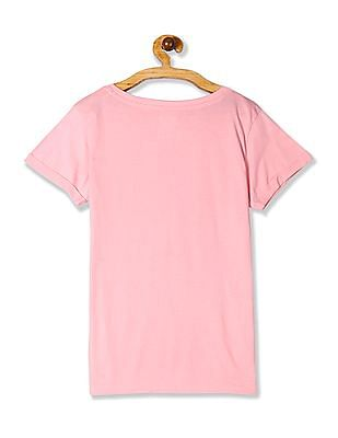 SUGR Pink Graphic Print Cotton T-Shirt