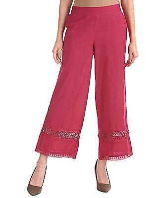 Karigari Pink Lace Hem Cotton Linen Palazzos