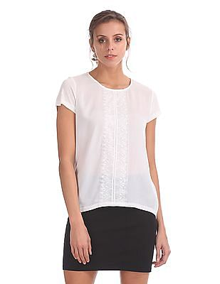 Cherokee Cap Sleeve Lace Panel Top