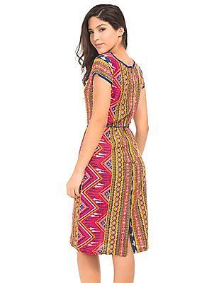 Bronz Combination Print A-Line Dress