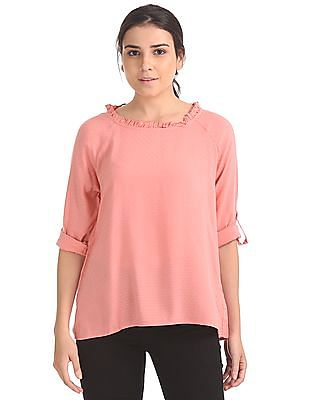 Cherokee Round Ruffle Neck Patterned Top