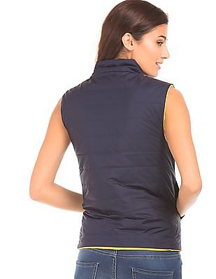 Flying Machine Women Quilted Reversible Gilet Jacket