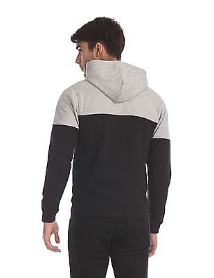 Flying Machine Black And Grey Colour Block Hooded Sweatshirt