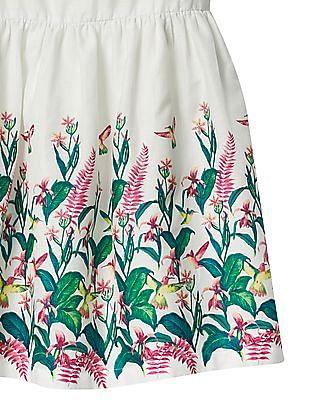 GAP Girls White Hummingbird Fit And Flare Dress