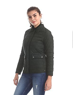 U.S. Polo Assn. Women Green Spread Collar Quilted Jacket