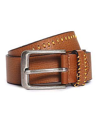 Flying Machine Stitched Leather Belt